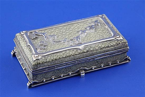 An early 20th century Arts & Crafts silver and shagreen rectangular trinket box in the manner of John Paul Cooper, 3in.