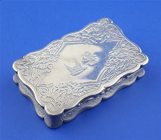 A Victorian silver snuff box by George Unite, 2.75in.