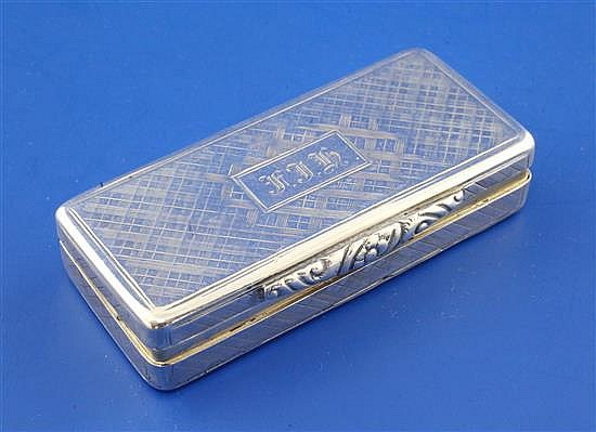 An early Victorian silver rectangular vinaigrette by William Simpson, 2.75in.