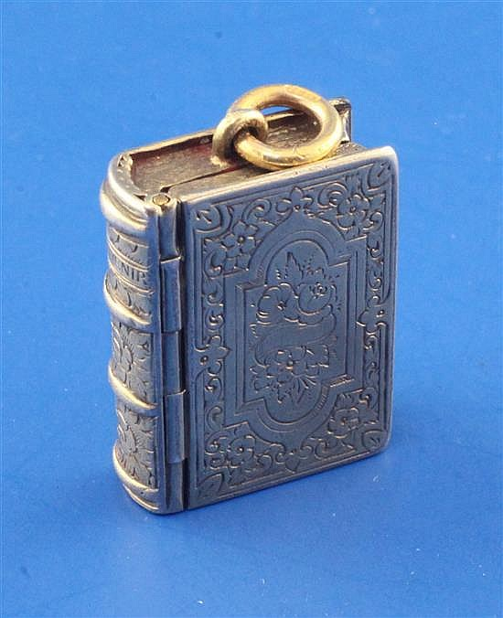 A Victorian engraved silver gilt vinaigrette by G. Wheeler & Co modelled as a