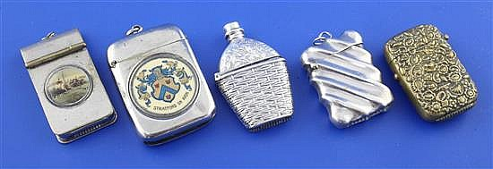 A late Victorian novelty silver vesta case modelled as a flask in a basket weave case, by Adie & Lovekin Ltd,