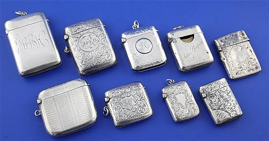 8 silver vesta cases and a stamp case vesta