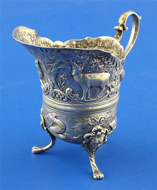 A late 19th century? Italian embossed silver cream jug, 4.5 oz.