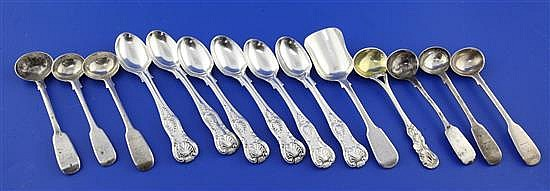 A set of Six Victorian silver double struck King's pattern egg spoons by Henry Holland & 8 other spoons.