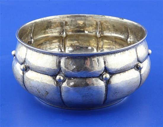 A 1920's Danish planished silver bowl, 5 oz.