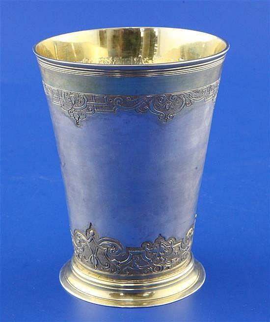 An antique continental parcel gilt silver beaker, 5.5 oz.
