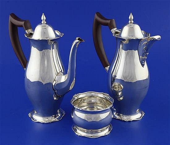 A 1930's silver cafe au lait pair and matching sugar bowl, gross 18 oz.