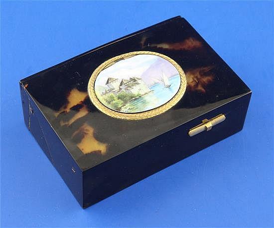 A late 19th/early 20th century Swiss? gilt metal mounted tortoiseshell singing bird automaton musical box, 3.75in.
