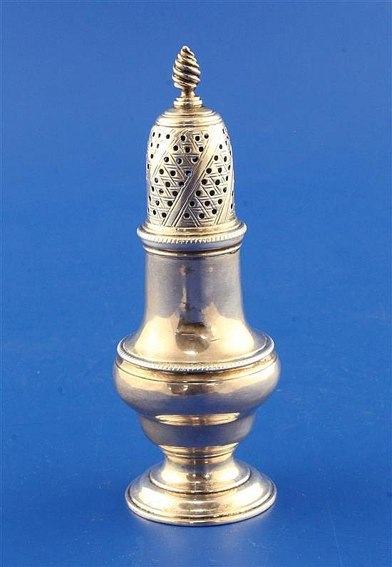 An early George III silver baluster pepperette, 3 oz.