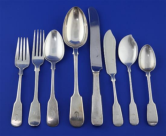 A 20th century part canteen of American sterling silver fiddle pattern cutlery by International Silver Co, Connecticut,