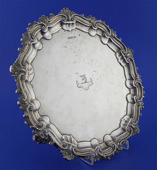 An Edwardian silver salver by Walker & Hall, 26.5 oz.