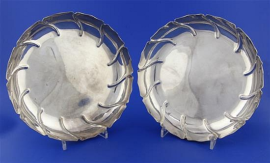 A pair of late Victorian silver strawberry dishes by Dobson & Sons, 30 oz.