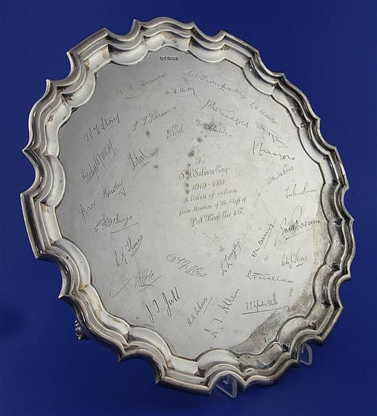 A George V silver salver by Walker & Hall, 46 oz.