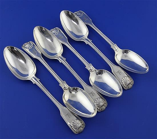 A set of six Victorian silver fiddle, thread and shell pattern table spoons by John & Henry Lias, 19.5 oz.