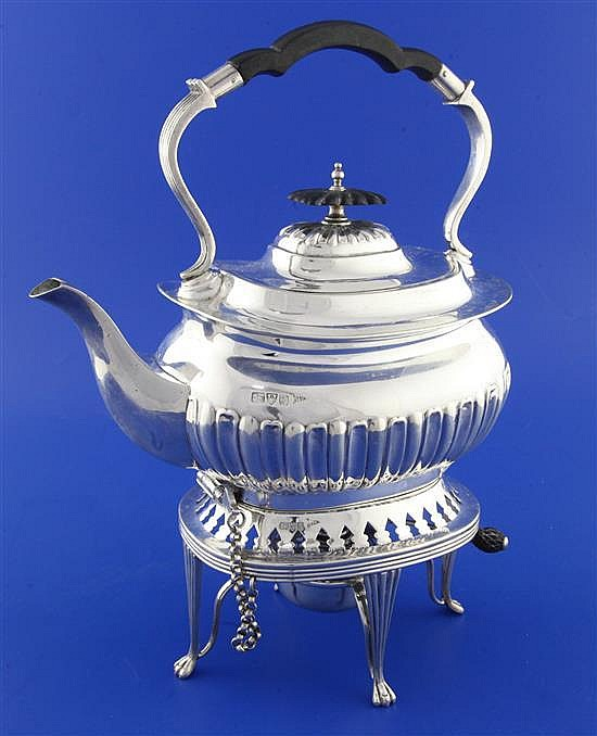 An Edwardian demi-fluted silver spirit kettle on stand with burner by Walker & Hall, gross 41 oz.