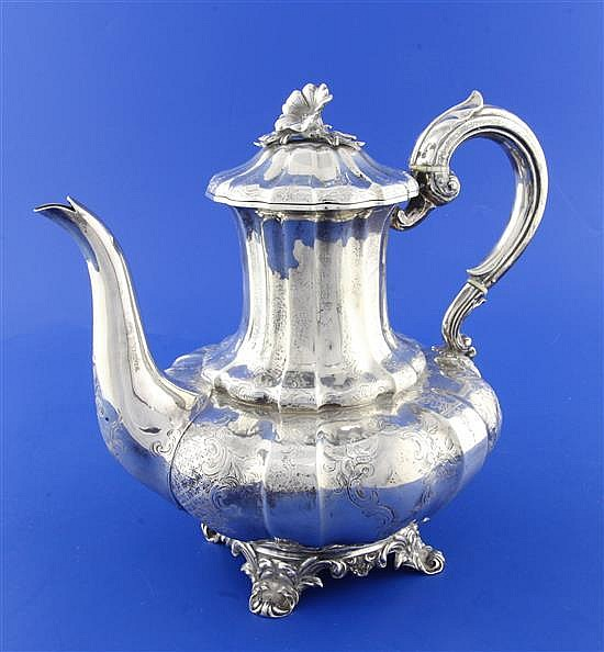 A Victorian engraved silver melon shaped coffee pot by Charles Thomas Fox & George Fox, gross 27.5 oz.