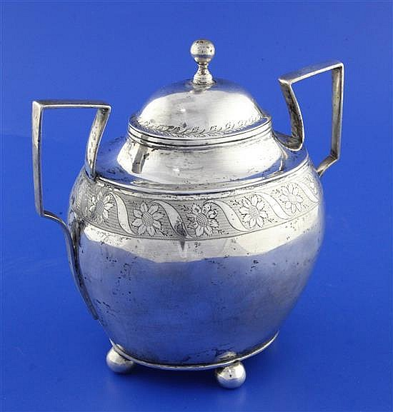 An early 19th century Portuguese silver two handled bowl and cover, 16.5 oz.