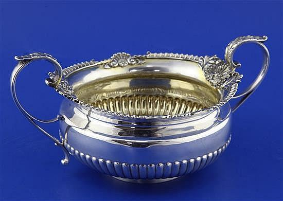 A George III demi-fluted silver two-handled sugar bowl, 13.5 oz.