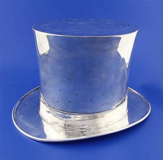 A 20th century Asprey silver plated novelty wine cooler modelled as a top hat, height 7.5in.