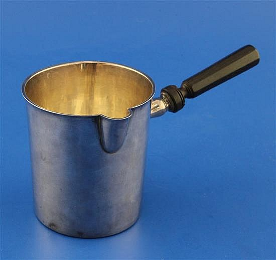 A late 18th/early 19th century French 950 standard silver sauce pan, gross 6 oz.