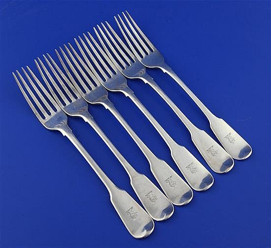 A set of six George IV silver fiddle pattern table forks, 11.5 oz.