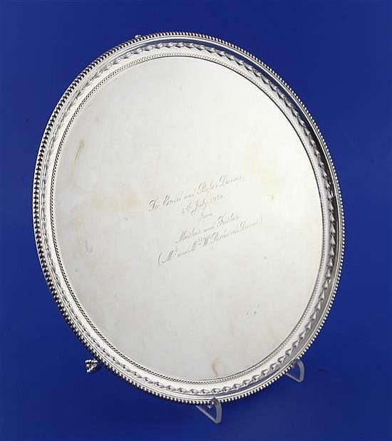 A 1940's silver circular salver, 26.5 oz.