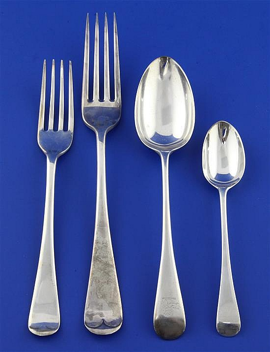 A matched part suite of Victorian and later Old English and Hanovarian pattern flatware, 108 oz.