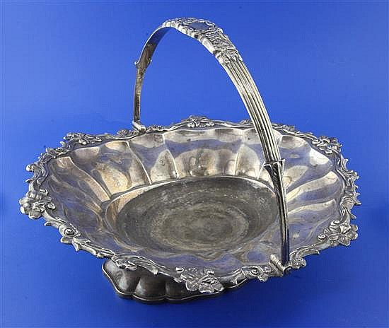 A William IV silver oval cake basket by William Bateman II, 38 oz.