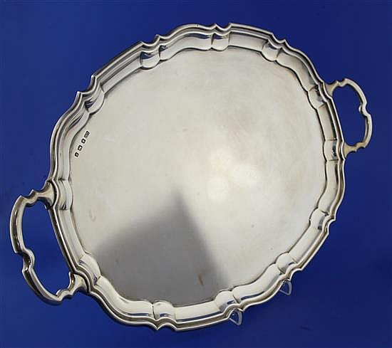 A 1930's silver two handled tea tray, 55 oz.