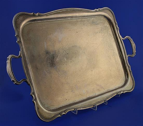 A 1930's silver two handled tea tray, 86 oz.