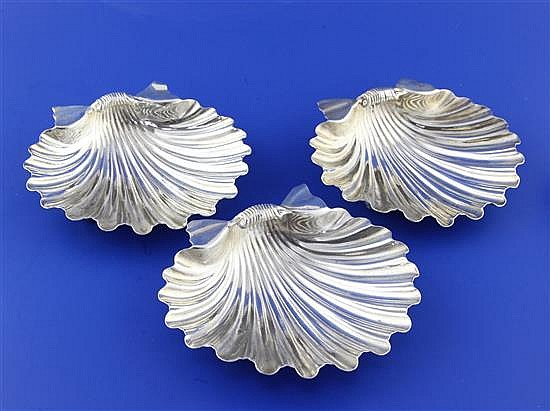 A set of three William IV silver butter shells by Matthew Boulton, 17.5 oz.