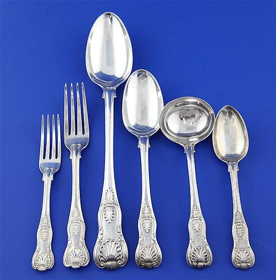 A William IV part canteen of silver double struck Kings pattern flatware for twelve, 150 oz