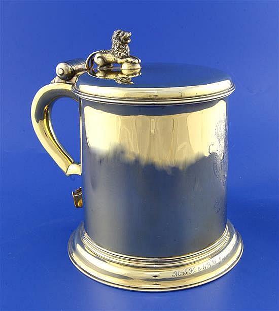 A good George V Charles II style Garrard & Co silver gilt replica tankard.