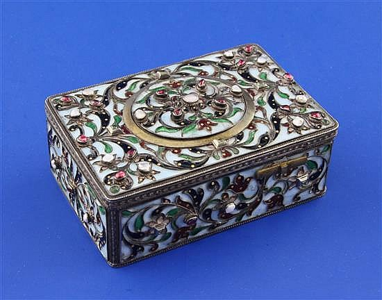 A 19th century Austro-Hungarian? silver, polychrome cloisonne enamel and gem set automaton singing bird box, 3.75in.