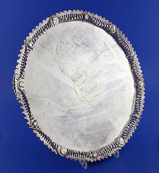 A George III silver circular salver by John Cox, 52 oz.
