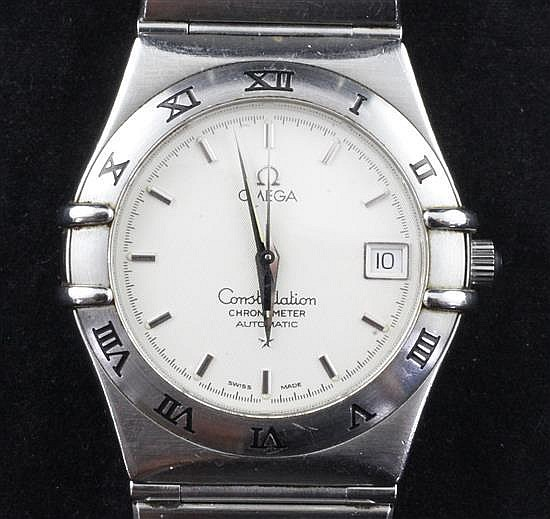 A gentleman's 1990's stainless steel Omega Constellation Chronometer Automatic wrist watch, with boxes and warranty date 1996.