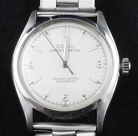 A gentleman's early 1950's stainless steel Rolex Oyster Perpetual wrist watch,