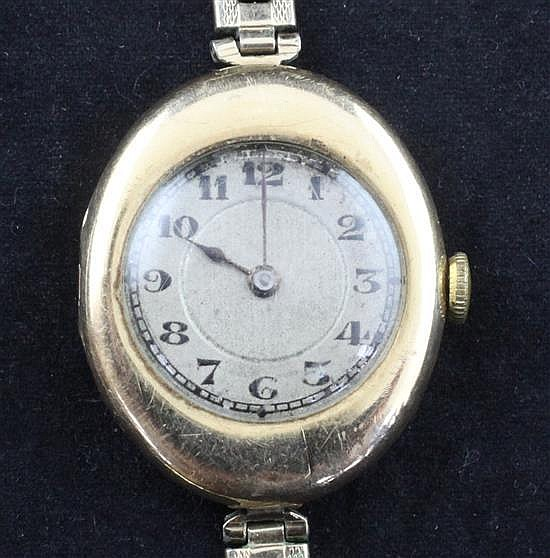 A lady's 1920's 15ct gold Rolex manual wind wrist watch,