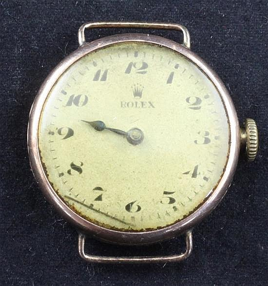 An early 20th century 9ct gold Rolex manual wind wrist watch,