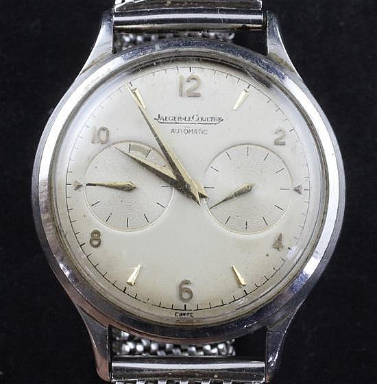 A gentleman''s 1950''s? stainless steel Jaeger LeCoultre automatic chronograph back-winding wrist watch,