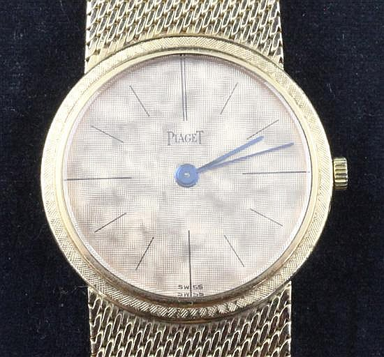 A lady's 18ct gold Piaget manual wind wrist watch,