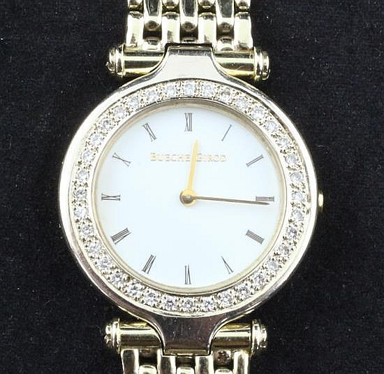 A lady's modern 9ct gold Bueche Girod and diamond quartz watch,
