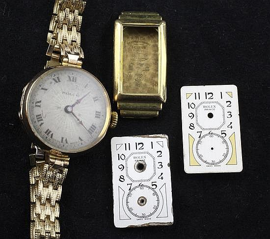 A lady's 1920's 9ct gold Rolco manual wind wrist watch, an 18ct gold Rolex watch case and two Rolex Prince watch dials.