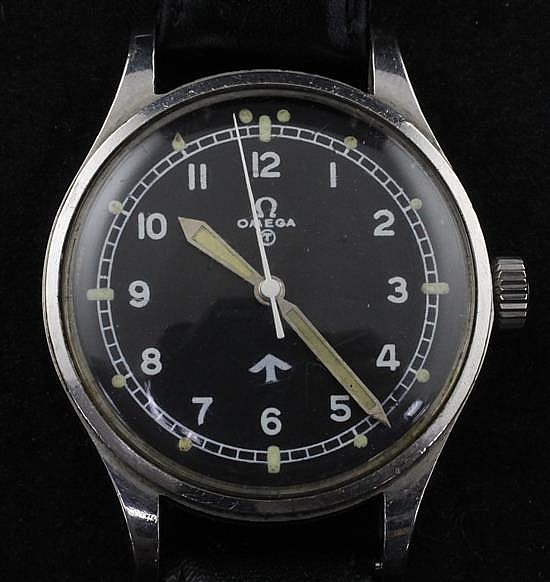 A gentleman's early 1950's stainless steel Omega military R.A.F. pilot's manual wind wrist watch,