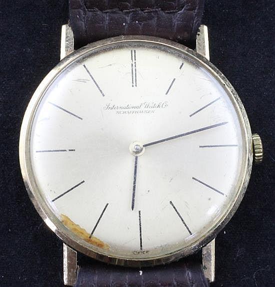 A gentleman's 1970's 9ct gold IWC manual wind wrist watch,