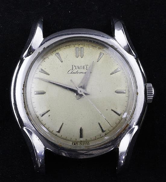 A gentleman's 1950's stainless steel Piaget Automatic wrist watch, no strap.