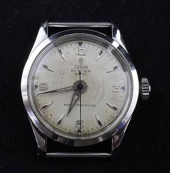 A gentleman's 1950's? stainless steel Tudor Oyster Royal wrist watch, no strap.