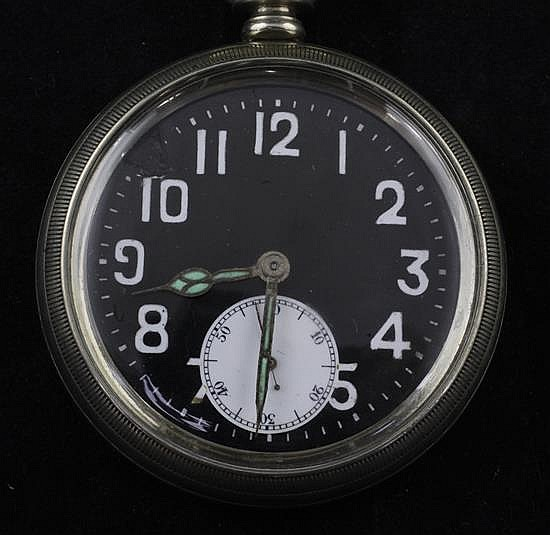 An early/mid 20th century nickel cased Rolex military issue keyless lever pocket watch,