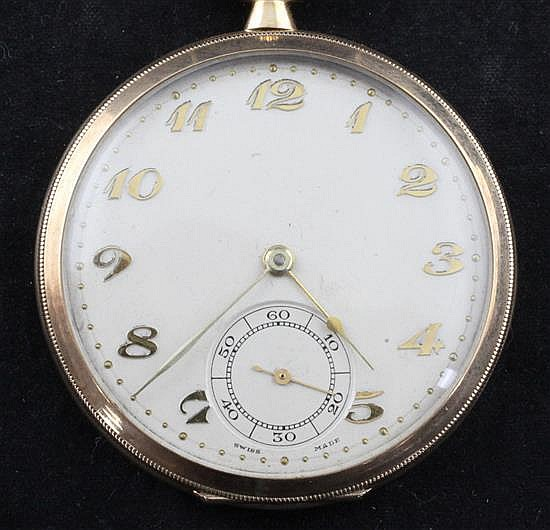 A mid 1930's Swiss 9ct gold keyless lever dress pocket watch,