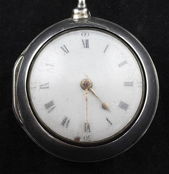 A George III silver pair cased key wind pocket watch by Thomas Chappell, London,